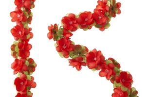 Guirlande de fleurs rouges