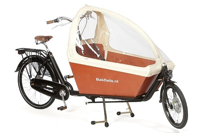 Habillage de pluie crème sur Bakfiets Cargobike long