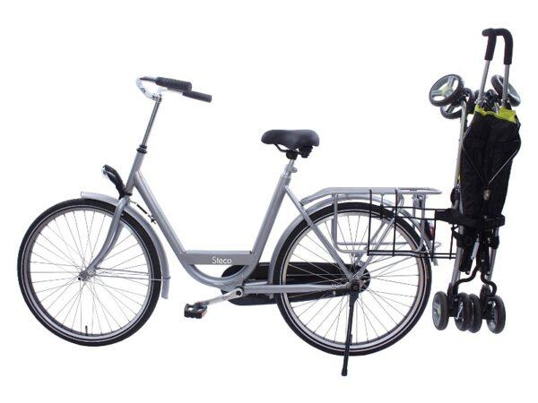 Porte-poussette Steco Buggy-Mee sur vélo avec poussette