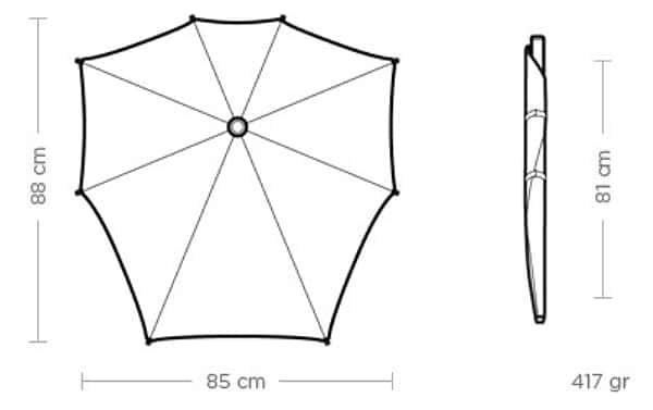 Parapluie tempête Senz Smart - Dimensions