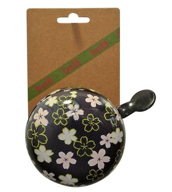 Sonnette Ding-Dong noire et fleurie 80 mm