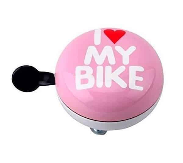 "Sonnette Ding-Dong rose et blanc ""I Love My Bike"""