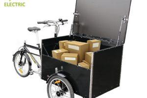 Triporteur électrique de livraison à moteur pédalier Bellabike Cargobox