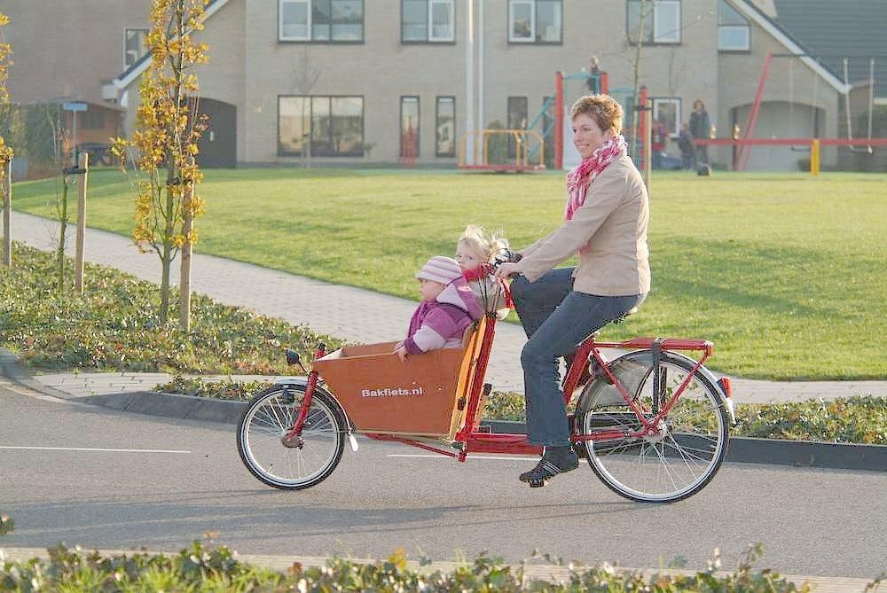 Biporteur Bakfiets court en route