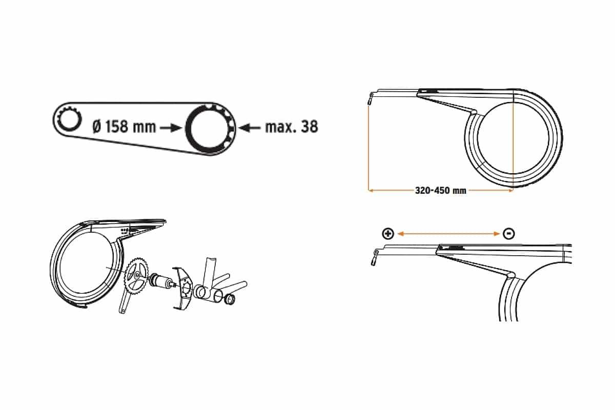 Garde-chaîne 36-38 dents universel SKS